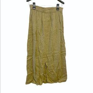 Flax Linen Elastic Waist Pocket Maxi Skirt